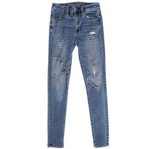 American Eagle Outfitter Hi-Rise Jegging Jean Ripped Knees Distressed Skinny 2